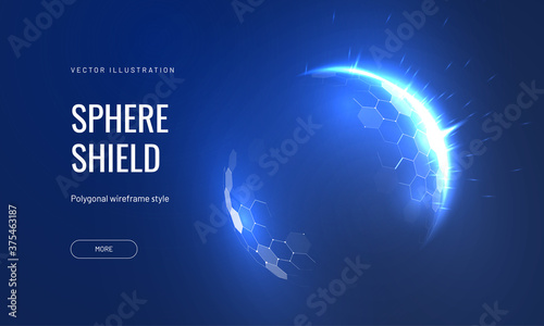 Fotografie, Obraz Dome shield geometric vector illustration on a blue background