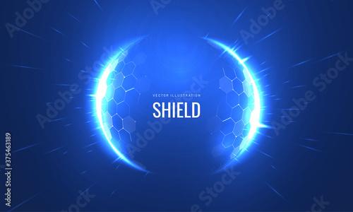 Bubble shield futurictic vector illustration on a blue background Fotobehang