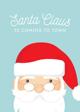 Santa Claus Is Coming To Town, Christmas Carol, Santa Claus Merry Christmas Holiday Greeting Card Background Illustration