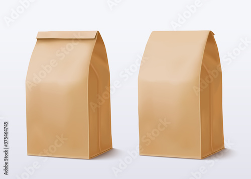 Paper bag on white background Canvas Print