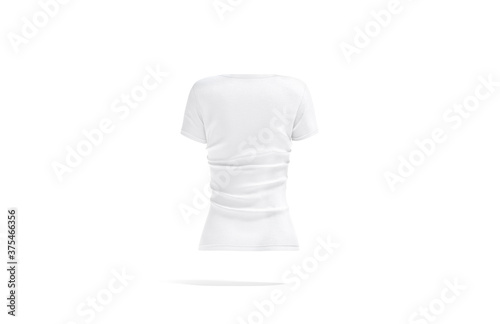 Blank white women v-neck t-shirt mockup, back view Fototapet