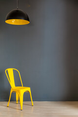 Living room wall mockup. Illuminating Yellow and Ultimate Gray, colors of the year 2021