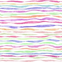 Watercolor Seamless Pattern Of Multicolored Horizontal Lines On White Background. Hand Drawn Texture Of Thick And Thin Stripes Bright Pastel Colors. Simple Transparent Colorful For Tablecloth, Fabric
