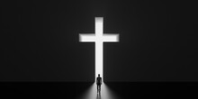 God Is Our Only Salvation. Man Getting Out Of Dark Room Trough Christian Cross. Religion Concept 3D Render 3D Illustration
