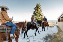 Ranchers Horseback Riding In S...