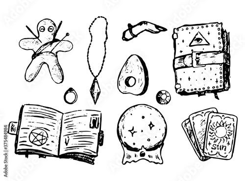 Witchcraft attributes doodles set Wallpaper Mural
