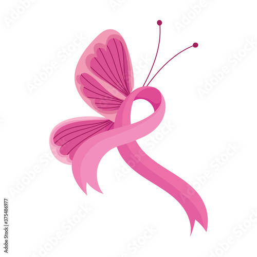 Photo breast cancer awareness month pink butterfly ribbon decoration vector