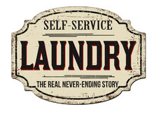 Laundry Vintage Rusty Metal Sign