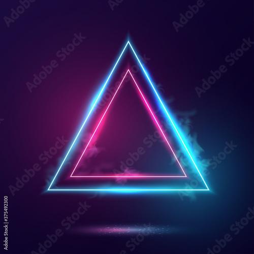 Triangles neon lights frame. Fototapeta
