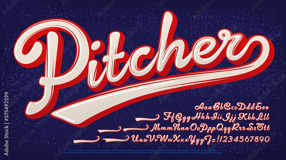 Fototapeta Pitcher script alphabet: A baseball style two-color logo font.