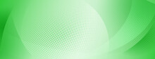 Abstract Halftone Background Of Small Dots And Wavy Lines In Green Colors
