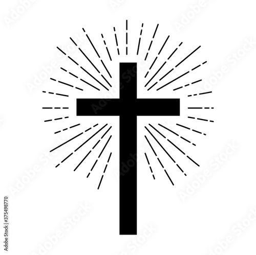 Slika na platnu Christian cross sign hipster sun starburst circle retro vintage design,illustration EPS10