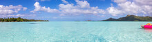 Panaramic View Of Beautiful Clear Turquoise Ocean Water In The South Pacific Tropical Island Of Bora Bora