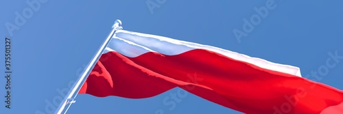 Fototapeta 3D rendering of the national flag of Poland waving in the wind