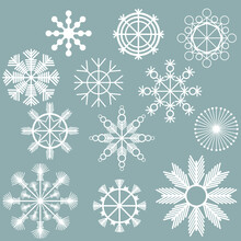Set Of White Snowflakes On A Gray Background, Subtle Frosty Patterns Of Straight Lines And Round Elements, Christmas Winter Attributes