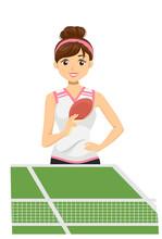 Teen Girl Play Table Tennis Il...