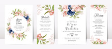 Floral Wedding Invitation Template Set With Navy And Peach Watercolor Roses And Leaves Decoration. Botanic Card Design Concept