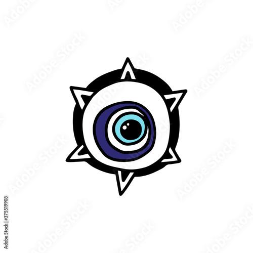Evil eye amulet or magic symbol element cartoon vector illustration isolated Wallpaper Mural
