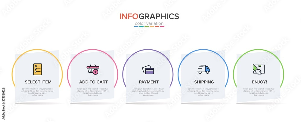 Fototapeta Concept of shopping process with 5 successive steps. Five colorful graphic elements. Timeline design for brochure, presentation, web site. Infographic design layout.