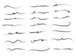 Hand drawn set of underline, curly swishes, swashes, swoops. swirl. Highlight text elements. vector illustration