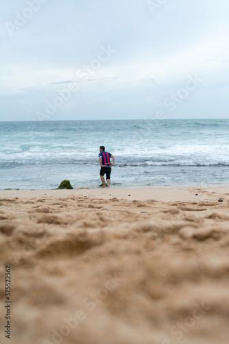 фотография Barcelona Fan Man in Timang Beach Java Yogyakarta Indonesia Boy Looking For Brav