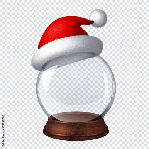 Transparent snow globe with Santa hat on checkered background Fototapet