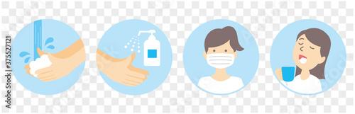 Foto washing hands mask gargling illustration vector