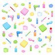 Bathroom elements isolated - Hygiene accessories for kids - Daily routine - White background