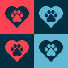 Pop Art Heart With Animals Foo...