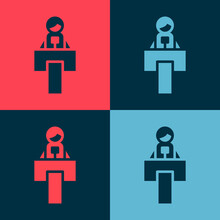 Pop Art Stage Stand Or Debate Podium Rostrum Icon Isolated On Color Background. Conference Speech Tribune. Vector.