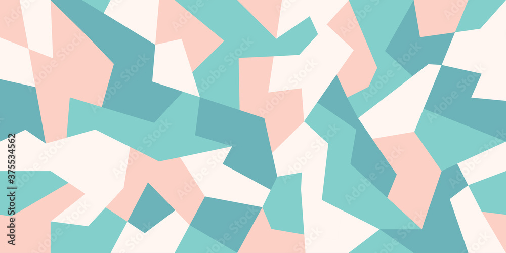 Fototapeta Abstract camouflage background in pastel colors. Camo pattern of geometric shapes for urban clothing. Green, white and light red colors. Stock vector