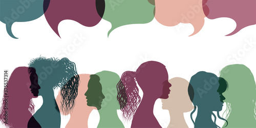 Leinwand Poster Silhouette group multiethnic women who talk and share ideas and information