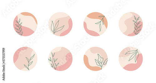 Vector highlight story cover icons for social media. Abstract floral minimal trendy pastel color backgrounds