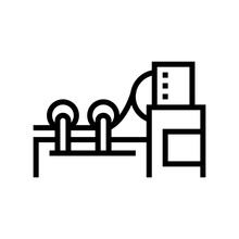 Paper Rolling System Line Icon Vector. Paper Rolling System Sign. Isolated Contour Symbol Black Illustration
