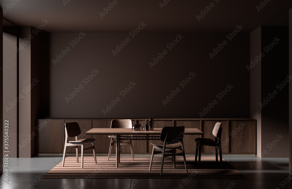 Fototapeta Modern style dining room with wooden chair and table.  Minimalist dark dining room design. 3D illustration.