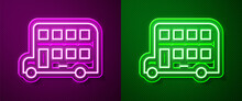 Glowing Neon Line Double Decker Bus Icon Isolated On Purple And Green Background. London Classic Passenger Bus. Public Transportation Symbol. Vector.