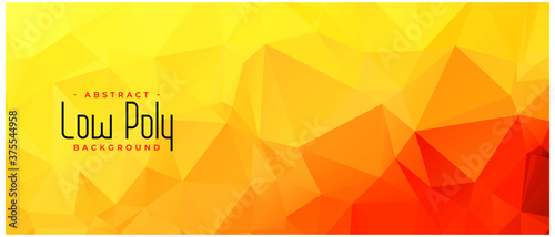 Fototapeta yellow orange color low poly abstract banner design