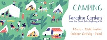 Horizontal Banner Template For Camping Festival With A Place For Text. Summer Vacation In Tent City. People Relaxing Outdoors. Summertime Activity. Vector Illustration In Flat Cartoon Style