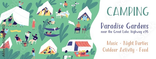Obraz Horizontal banner template for camping festival with a place for text. Summer vacation in tent city. People relaxing outdoors. Summertime activity. Vector illustration in flat cartoon style - fototapety do salonu
