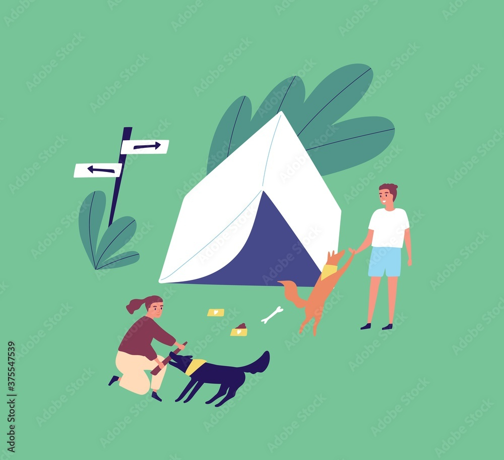 Fototapeta Family on summer outdoor camping vacation. Young couple playing with dogs near a tent. Man and woman relaxing on campsite with pets. Vector illustration in flat cartoon style