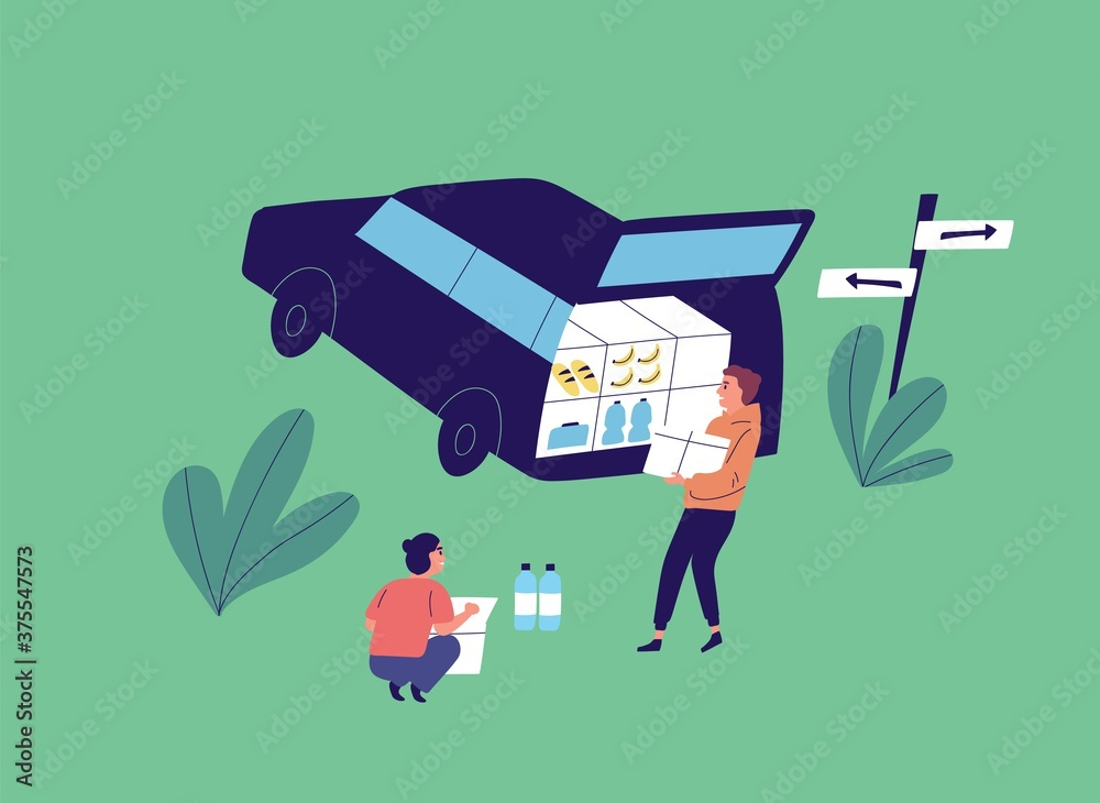 Fototapeta Flat vector cartoon illustration with young people unloading car. Couple near opened car trunk carry food product for camp. Squatting woman near box of water bottle