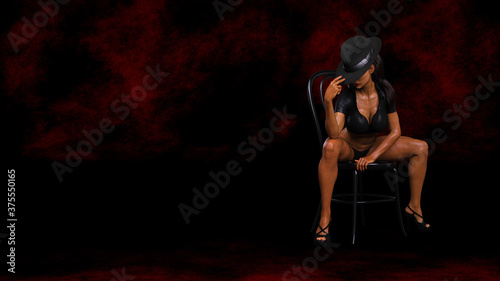 Beautiful Woman in hat performing erotic dance on the chair, photorealistic 3D illustration, isolated on the dark red grunge studio background.