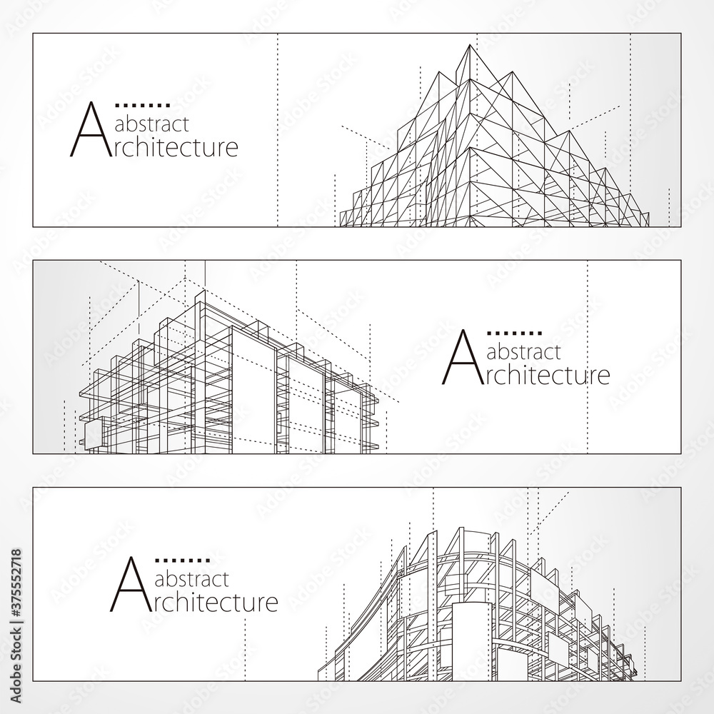 Fototapeta Architecture abstract modern building, Architecture building construction perspective line drawing design banner set.