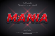 Red Mania 3d Text Style Effect...
