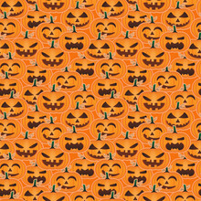 Seamless Pattern Of Different Character Face Of Pumpkin Halloween. Jack-o-lantern Vector With Orange Background.