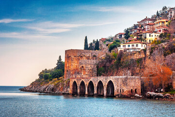 Ottoman shipyard and The castle view Alanya Town of Turkey