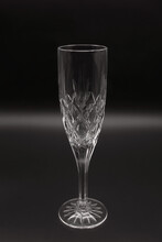 Cut Crystal Glass For Champagne And Cava, Flute Style, Thick Glass, Carved Chalice, Standard Stem, Carved Circular Base,