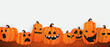 Halloween Party poster. Set pumpkins of Collection Scary and funny Carnival Background concept design