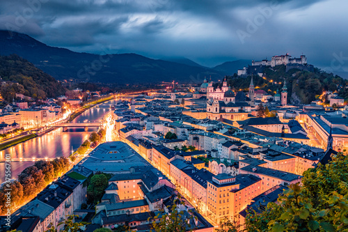 Gloomy morning cityscape of Salzburg, Old City, birthplace of famed composer Mozart Canvas Print
