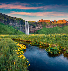 Obraz na Szkle Popularne Exciting sunset on popular tourist destination - Seljalandsfoss waterfall, where tourists can walk behind the falling waters. Pictuewsque summer scene of Iceland. Beauty of nature concept background.